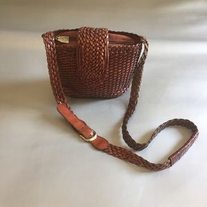 Vintage brown woven leather crossbody bag
